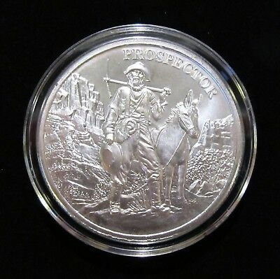 Provident 1840's Prospector 1 oz Silver Round in Air-Tite capsule, Display Easel