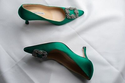 92da5cf3395 MANOLO BLAHNIK HANGISI Green Satin Jewel Buckle Pumps Size 6 ...