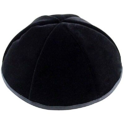 Black Plush Velvet Kippah Yarmulke Yamaka Israel Large 24 cm with Rim
