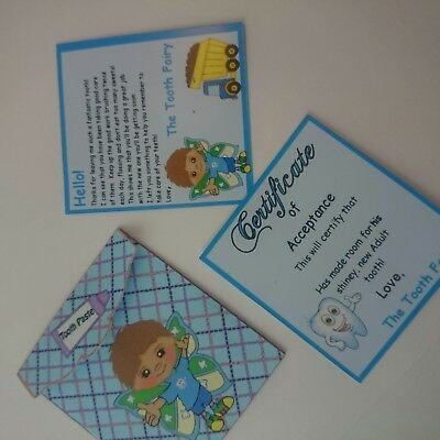 Boys Set letter and certificate with envelope for coins from the Tooth Fairy