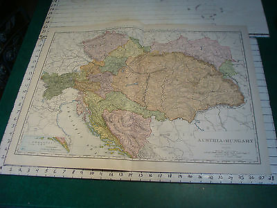 Vintage Original 1898 Rand McNally Map: AUSTRIA-HUNGARY aprox 28 x 21""