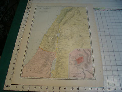 Vintage Original 1898 Rand McNally Map:  PALESTINE, 15 x 21""