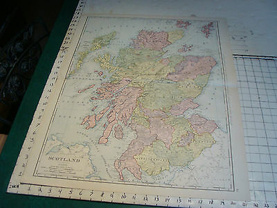 "Vintage Original 1898 Rand McNally Map: SCOTLAND aprox 28 x 22"" VERY NICE"