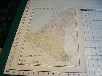 Vintage Original 1898 Rand McNally Map: NETHERLANDS BELGUIM aprox 15 x 21""