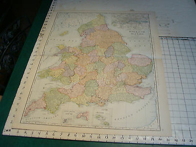 "Vintage Original 1898 Rand McNally Map: ENGLAND & WALES aprox 28 x 22"" VERY NICE"