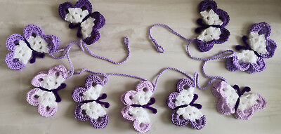 Butterfly bunting purple shades butterflies garland boho chic home decor nursery