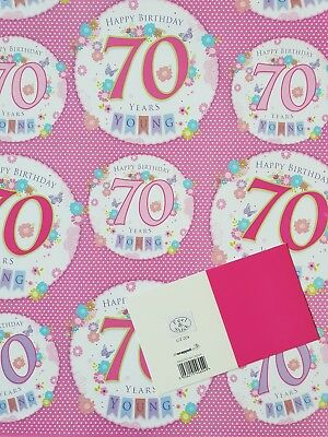 2 Sheets Of Good Quality Glossy 70Th Birthday Wrapping Paper Pink Gift Tag