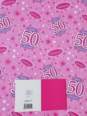 2 Sheets Of Good Quality Glossy 50Th Birthday Wrapping Paper Pink Gift Tag