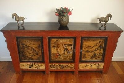 Majestic Antique 19C Oriental Chinese Asian Elm Sideboard *Cabinet *Buffet *Unit