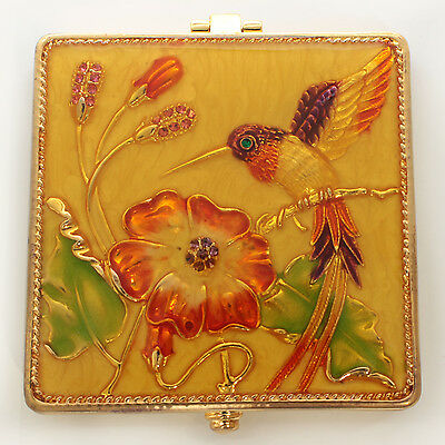 Jeweled square hummingbird motif compact mirror, enamel crystals in gold,yellow