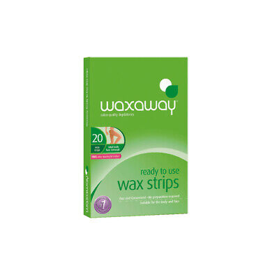 NEW Waxaway Wax Strips Ready to Use Body 20 Strips Hair Removal Waxing Supplies
