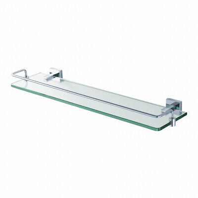 KRAUS Aura Rectangular Bathroom Storage Glass Wall Shelf With Railing In Chrome