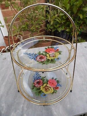 Vintage 1950s Cake Stand 2 Tier Glass Bouquet Decorated Plates Gilt Frame