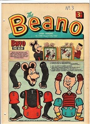 BEANO # 1308 12th August 1967 the  issue comic 1st paper puppet Biffo puppit