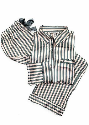 Victoria Secret Afterhours Satin Pink Gray iconic Stripe Pajama Set XS L NEW  pj f03843c5c