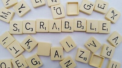 Genuine Scrabble Letters Tiles. Any 5x letters- you choose! Ivory plastic.