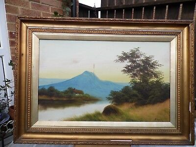 F. May - River Landscape with Cottage - Antique Oil Painting On Board - Signed