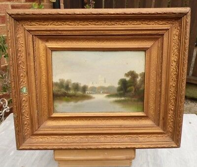 1900s Oil on Canvas in old Gesso Frame - Lake and Landscape - Unsigned