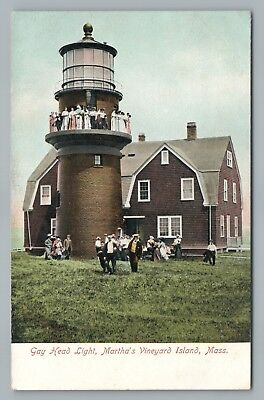 Outing at Gay Head Light MARTHA'S VINEYARD Rare Antique UDB Lighthouse <1908