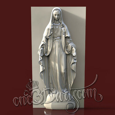 3D Model STL For CNC Router Artcam Aspire Religion Ave Maria Panel Cut3D Vcarve