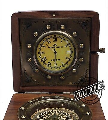 Retro Style Wooden Box Clock With Compass Small Table Top Clocks Vintage Decor I