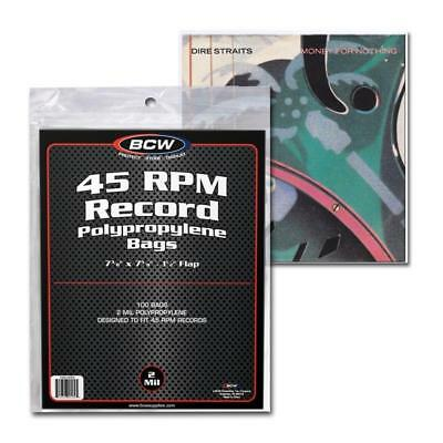 1 pack of 100 BCW Record Covers 45 rpm Plastic Outer Bags Holders with flap