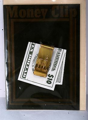 """Vintage Solid Brass Letter """"H"""" Money Clip w Card NOC Made In ENGLAND"""