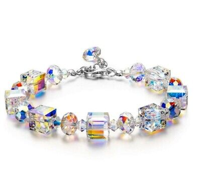 "Aurora Borealis Bracelet with Swarovski Crystals 18K White Gold Adjustable 7""-9"""
