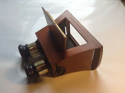 Antique  Stereoscope Stereo Veiwer for 3D images.Mahogany and Brass.