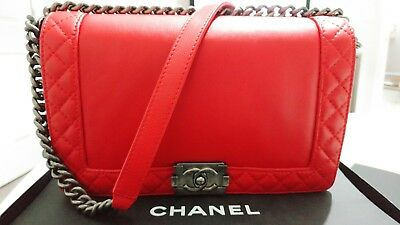 f7e5e5bee0c3 CHANEL LE BOY Reverso RED Medium Leather Bag w Ruthenium Hardware ...