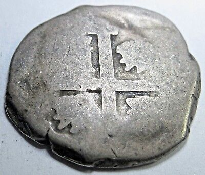 1744 Spanish Silver 2 Real Cob Piece Of 8 Reales Pirate Treasure Colonial Coin