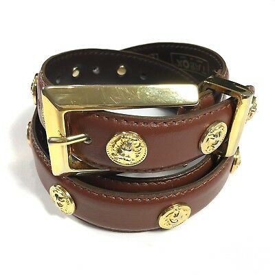 Tarox Geniune Leather Belt Made in Italy Brown with Gold Embellishment Size M