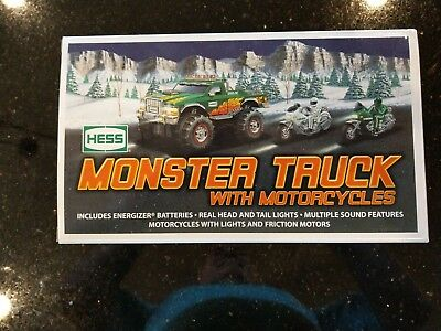 HESS 2007 TOY MONSTER TRUCK AND MOTORCYCLES nib w/bag