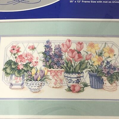 J&P Coats & Clark Pleasures of Spring Counted Cross Stitch Kit Flowers Floral