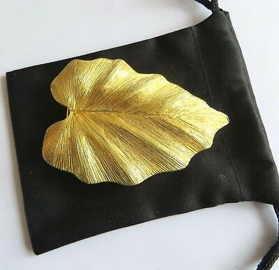 "Vintage DOTTY SMITH Signed Gold Tone Leaf Belt Buckle 2 3/4"" Simple elegance"