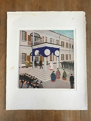 "c.1940s ""THE EMPRESS AT A SCHOOL FOR GIRLS"" YAZAWA GENGETSU PAINTING PRINT MEIJI"