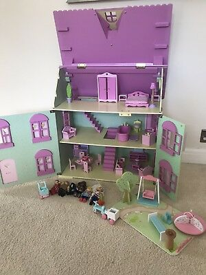 Pretty ELC Wooden Rosebud Dolls House & Playground With Furniture & People