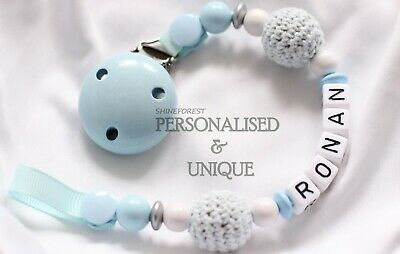 ❤ Personalised Dummy Clips Dummy Chain Pacifier Clip Blue Crochet ❤