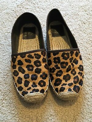 0f8d0fda6 TORY BURCH BROWN Pony Calf Hair Leather Loafers Zebra Shoes 6.5M ...