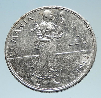 1914 ROMANIA under King Carol I Prince Karl Genuine Silver 1 Leu Coin i75294