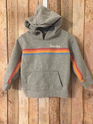 Peek Little Peanut Smile Hoodie XL 18 24 Months Gray Rainbow