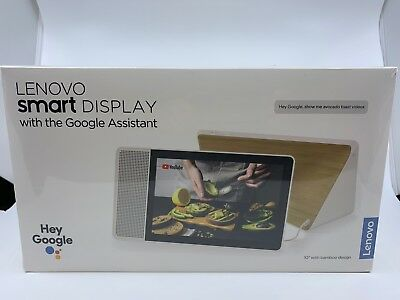 "Lenovo 10"" Smart Display with Google Home Assistant - White Front/Bamboo Back"