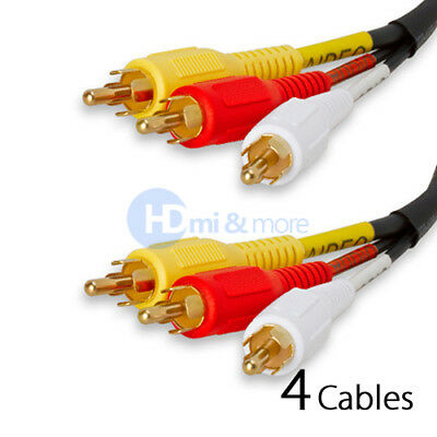 Video 3 RCA Composite 25 FT Cable Audio AV Cord Gold Plated - PACK of 4