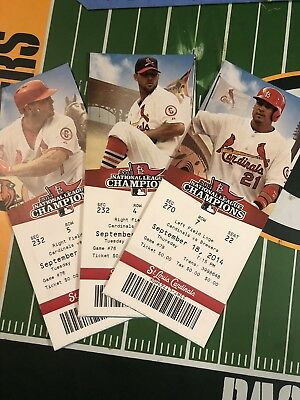 (3) St Louis Cardinals Vs Milwaukee Brewers Unused Tickets From 2014