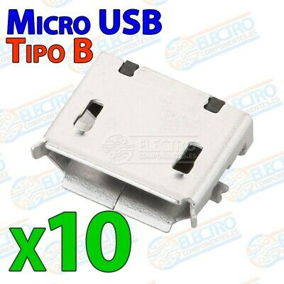 Conector Micro USB Tipo B Hembra soldar SMD standard - Lote 10 unidades - Arduin