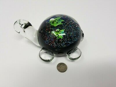 Murano Sea Turtle Hand Blown Glass Millefiori Paperweight Crafted in Italy