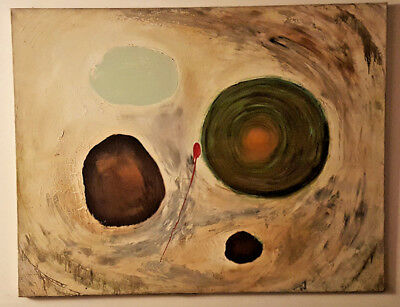 Large Vintage Oil on Canvas ABSTRACT Painting.