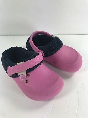 8946494541f99 Crocs Lined Kids Pink Girls Shoes Faux Fur Childs Slip On Clogs Size C 8