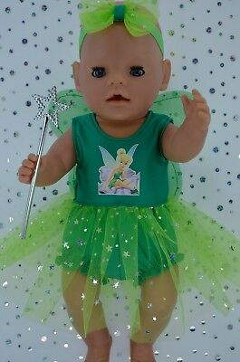 "Play n Wear Doll Clothes For 17"" Baby Born GREEN/LIME FAIRY~PANTS~HEADBAND~WAND"