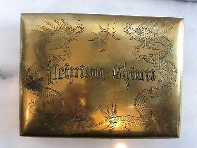 Antique Brass Box Wood Lined Engraved Art Peiping China Oriental Asian Dragons